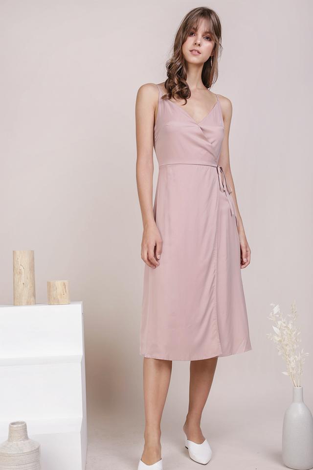 Wanda Wrap Front Dress (Dusty Pink)