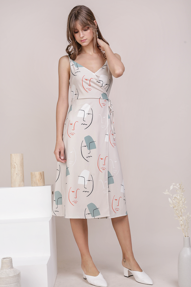 Wanda Wrap Front Dress (Face Print)