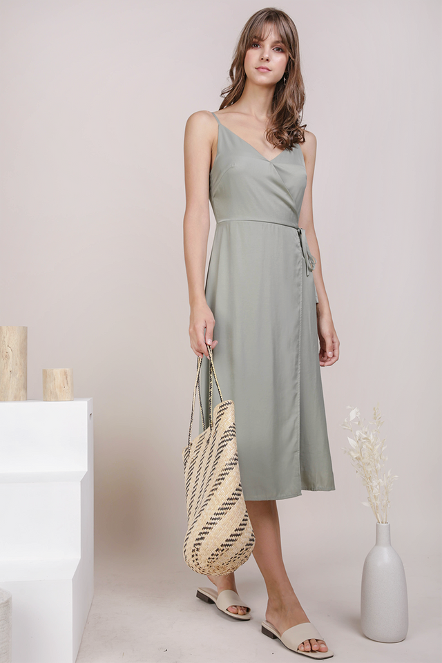 Wanda Wrap Front Dress (Sage Green)