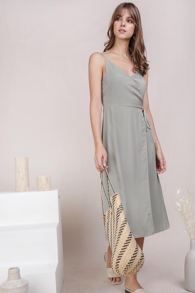 Wanda Wrap Front Dress (Sage Green)
