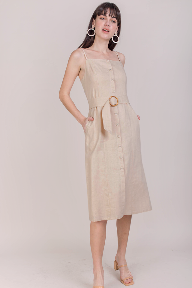 Kin Buckle Midi Dress (Nude)