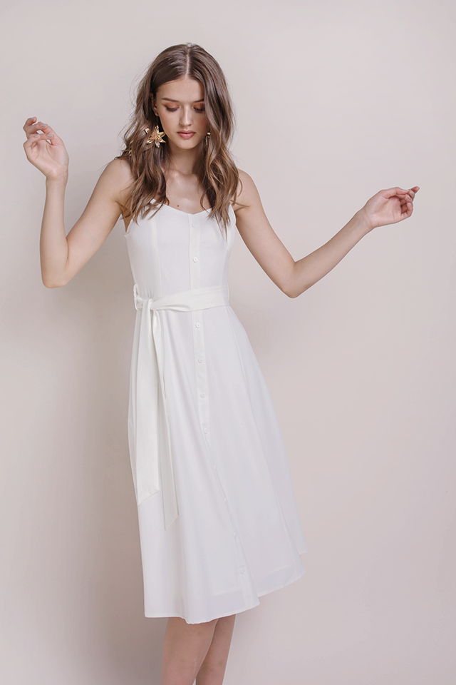 Izzy V Neck Midi Dress (White)