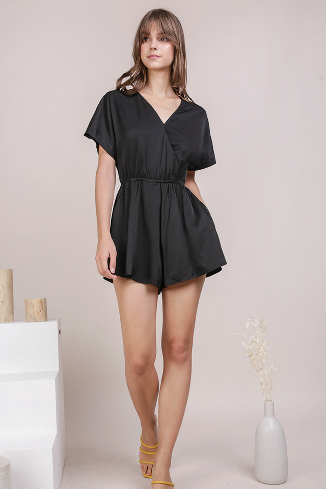 Keva Sleeved Romper (Black)