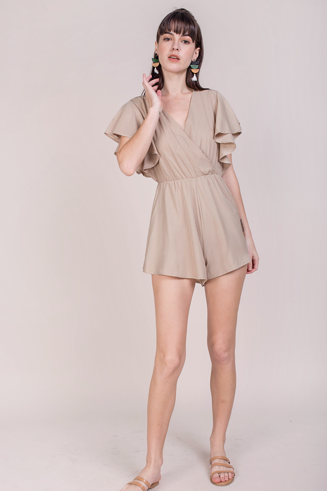 Gayle Wrap Front Romper (Sand)