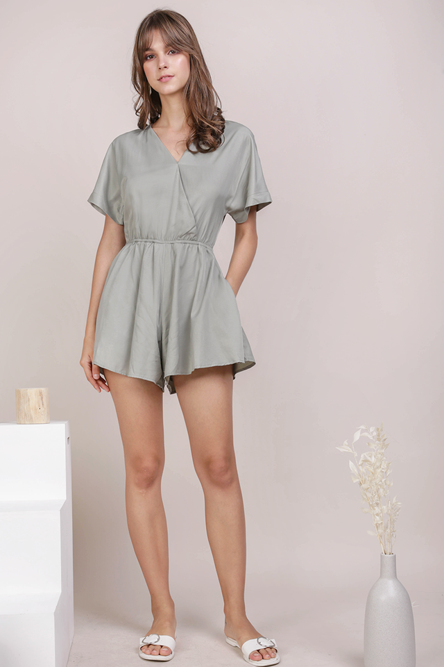 Keva Sleeved Romper (Sage Green)