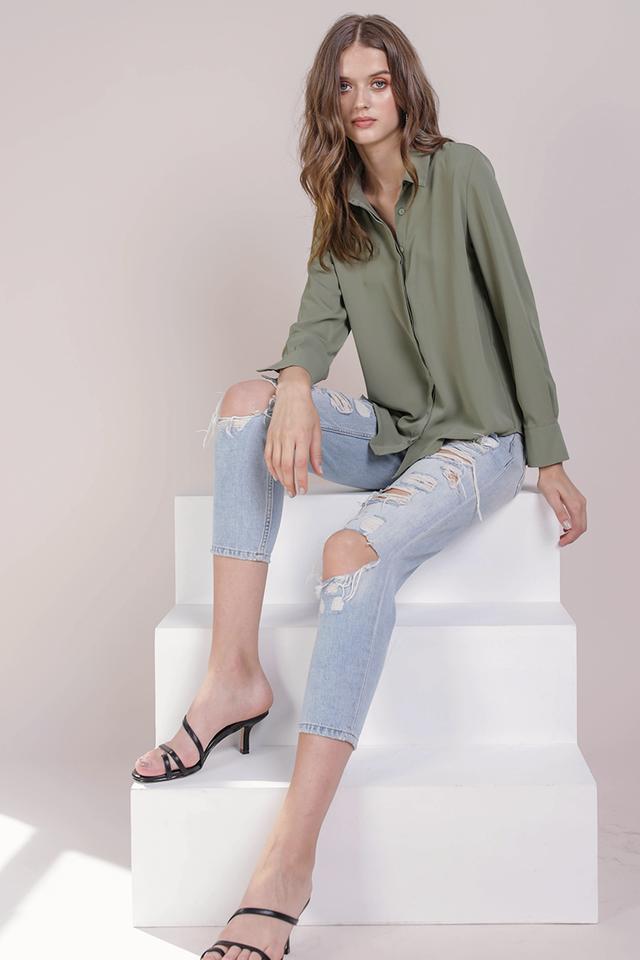 Josette Cuff Shirt (Sage Green)