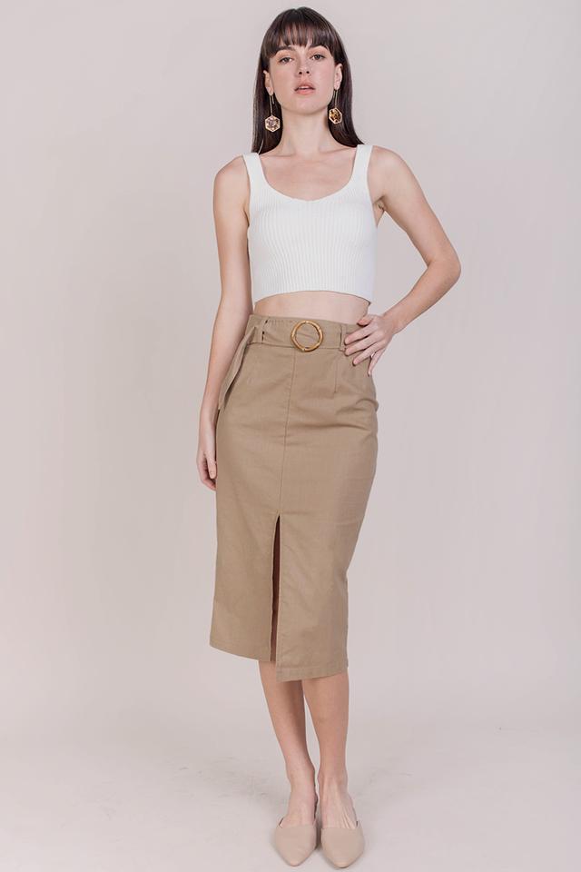 Perri Buckle Midi Skirt (Camel)