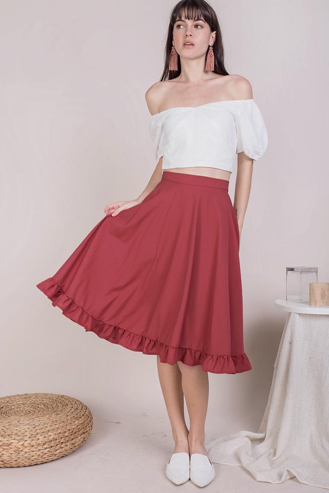 Sher Ruffles Skirt (Crimson)