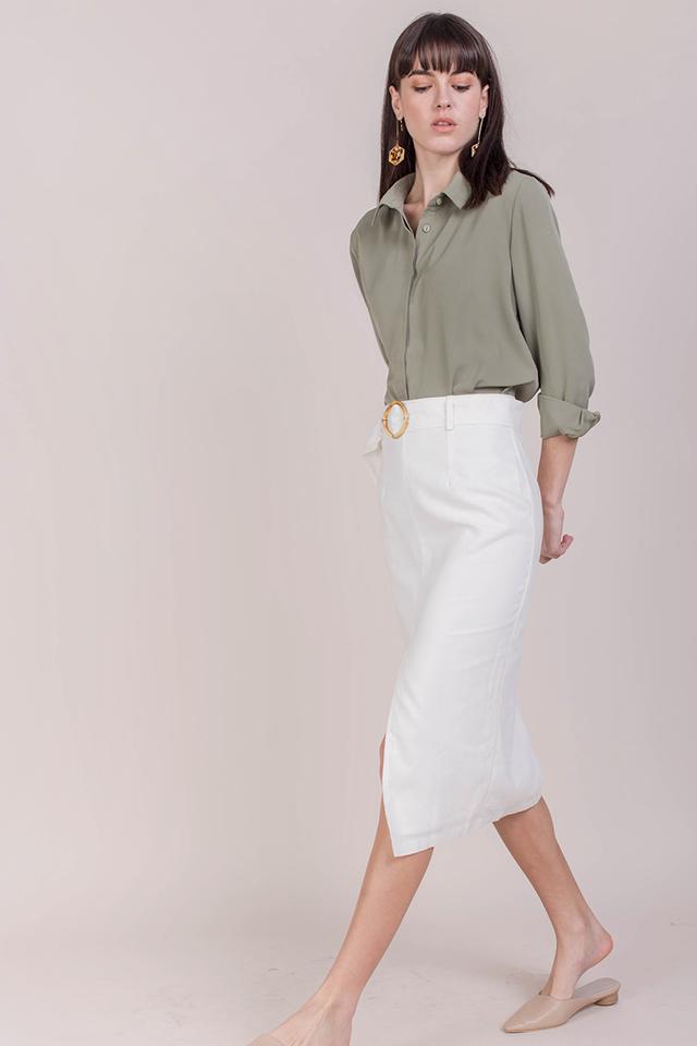 Perri Buckle Midi Skirt (White)