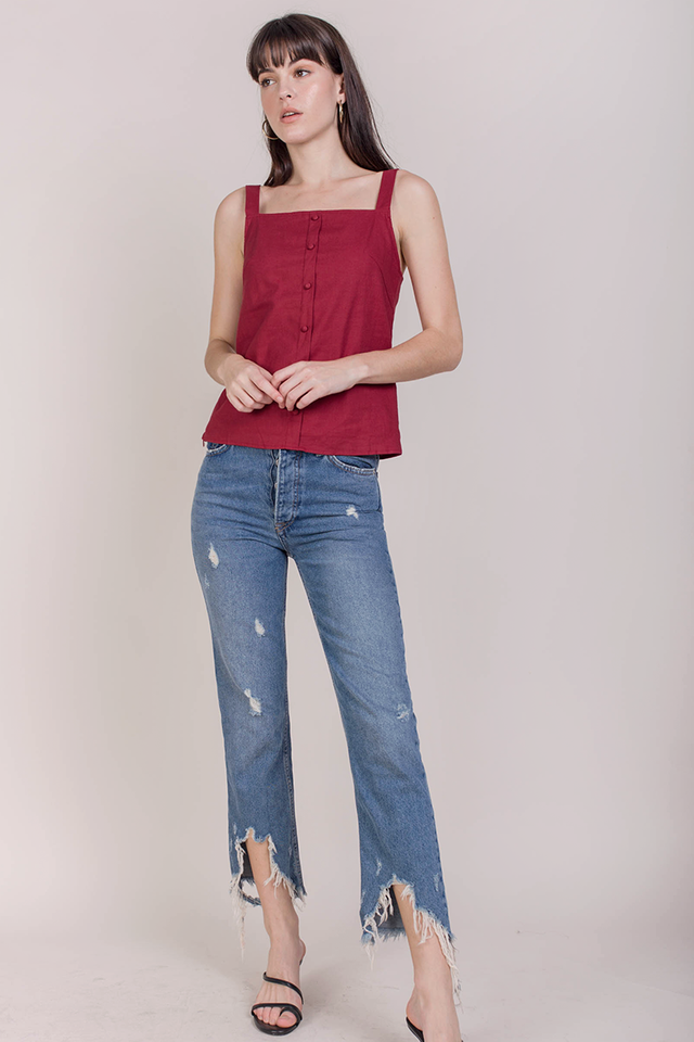 Sans Linen Top (Cherry)