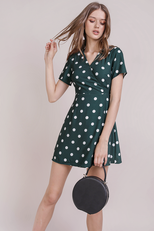 Aiden Wrap Front Dress (Forest Dots)