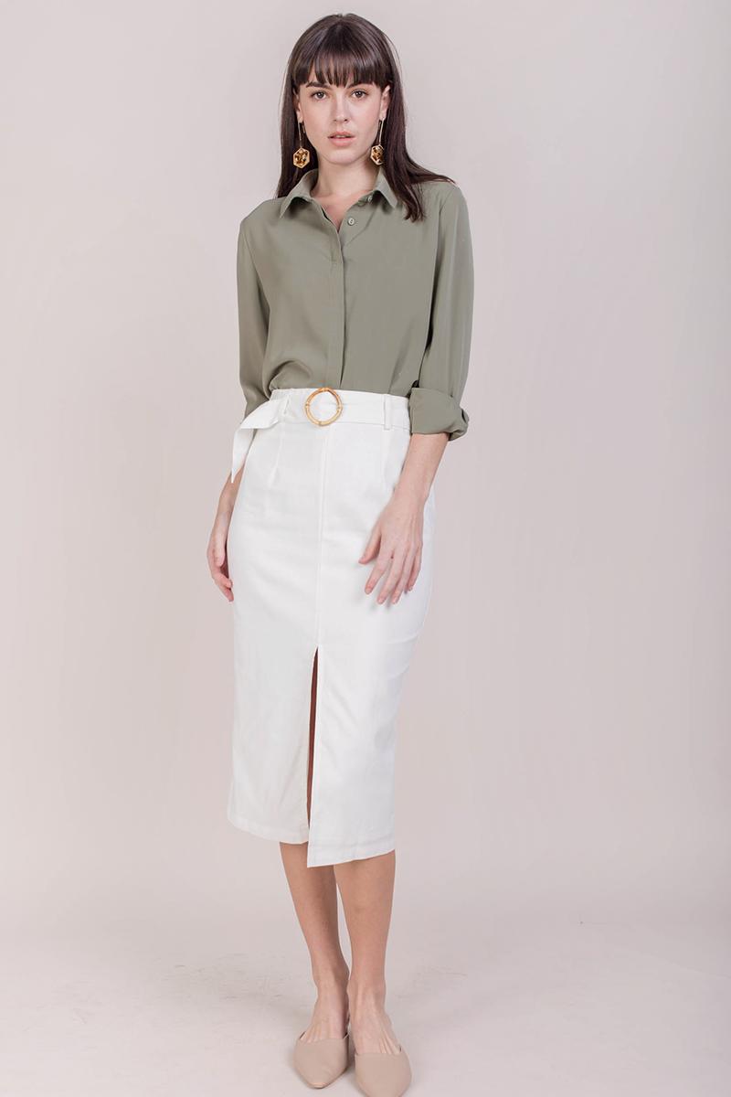 7de41e1607 Perri Buckle Midi Skirt (White) | The Tinsel Rack