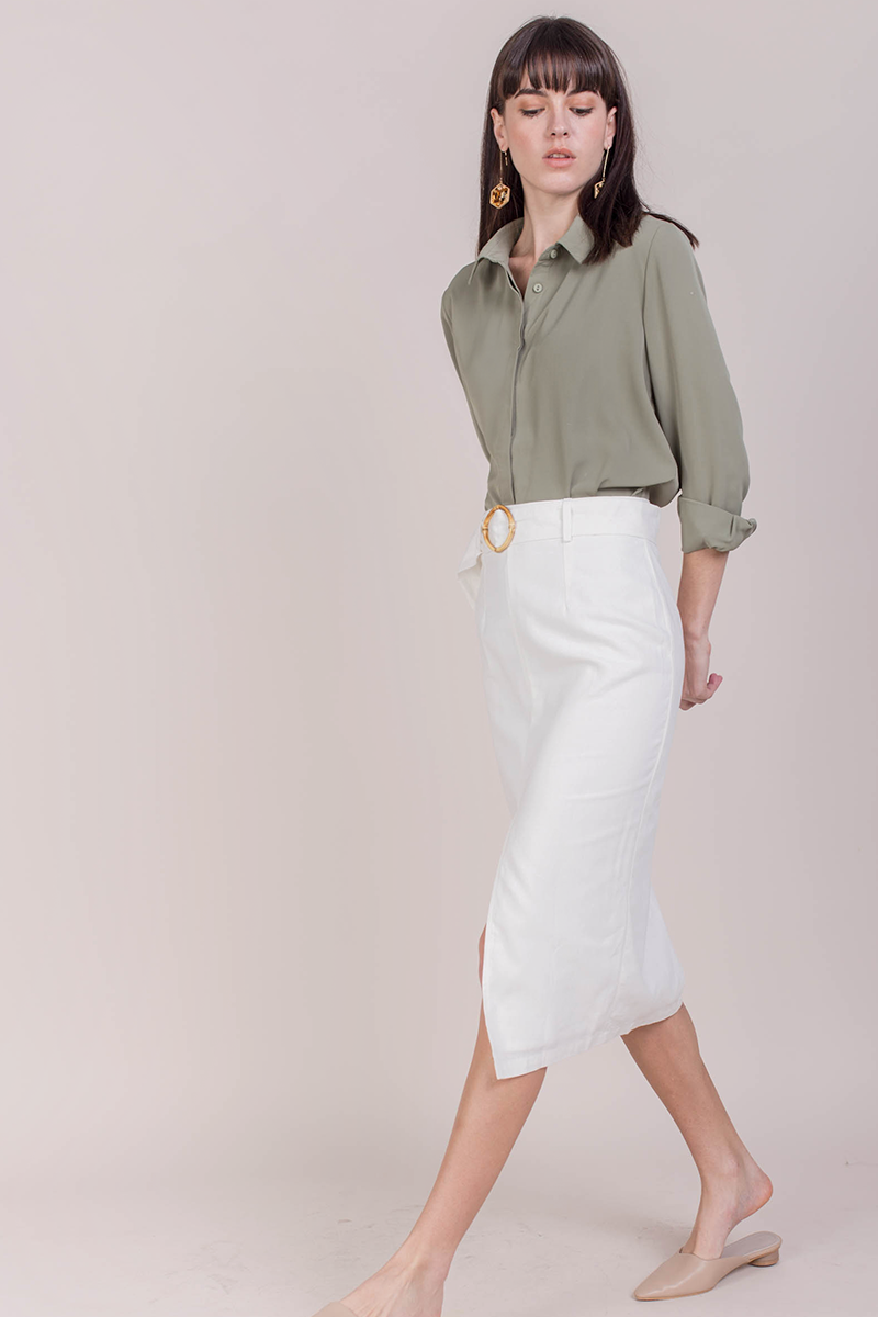 3f7316c68086 Perri Buckle Midi Skirt (White) | The Tinsel Rack