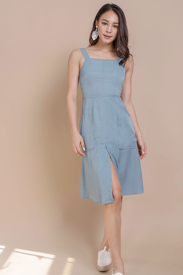 Charley Midi Dress (Ash Blue)