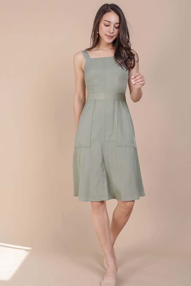 Charley Midi Dress (Sage Green)