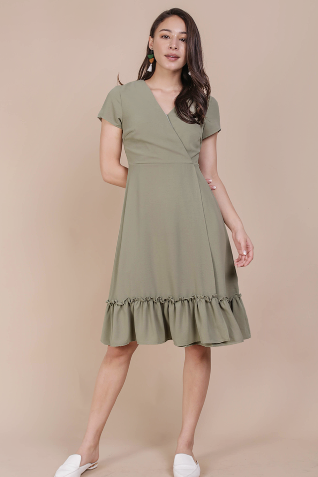 Laura Wrap Front Dress (Sage Green)
