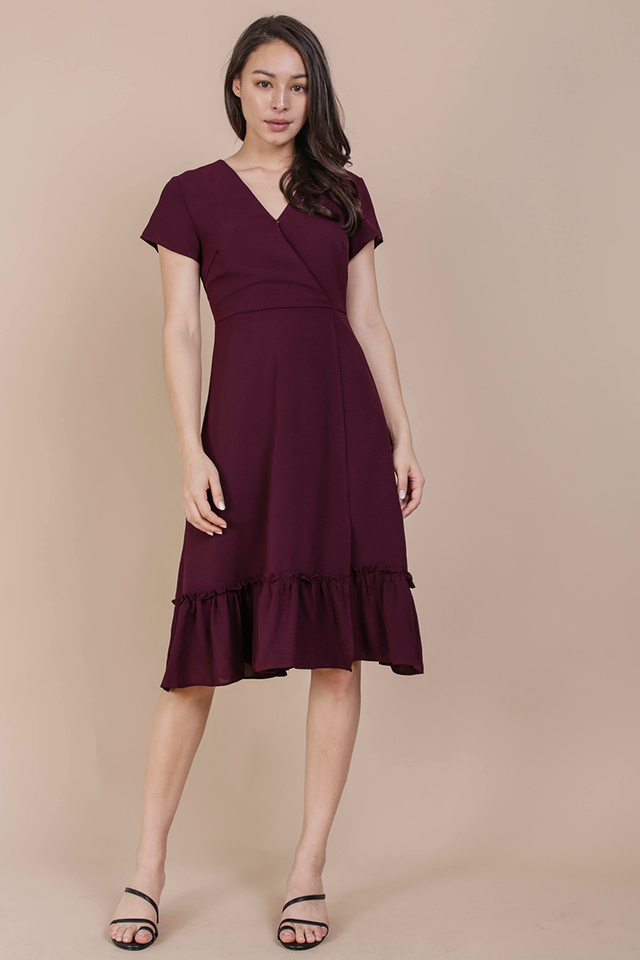 Laura Wrap Front Dress (Maroon)