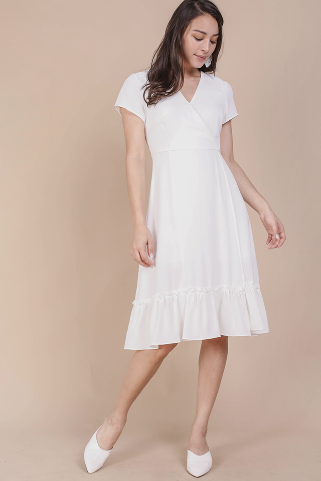 Laura Wrap Front Dress (White)