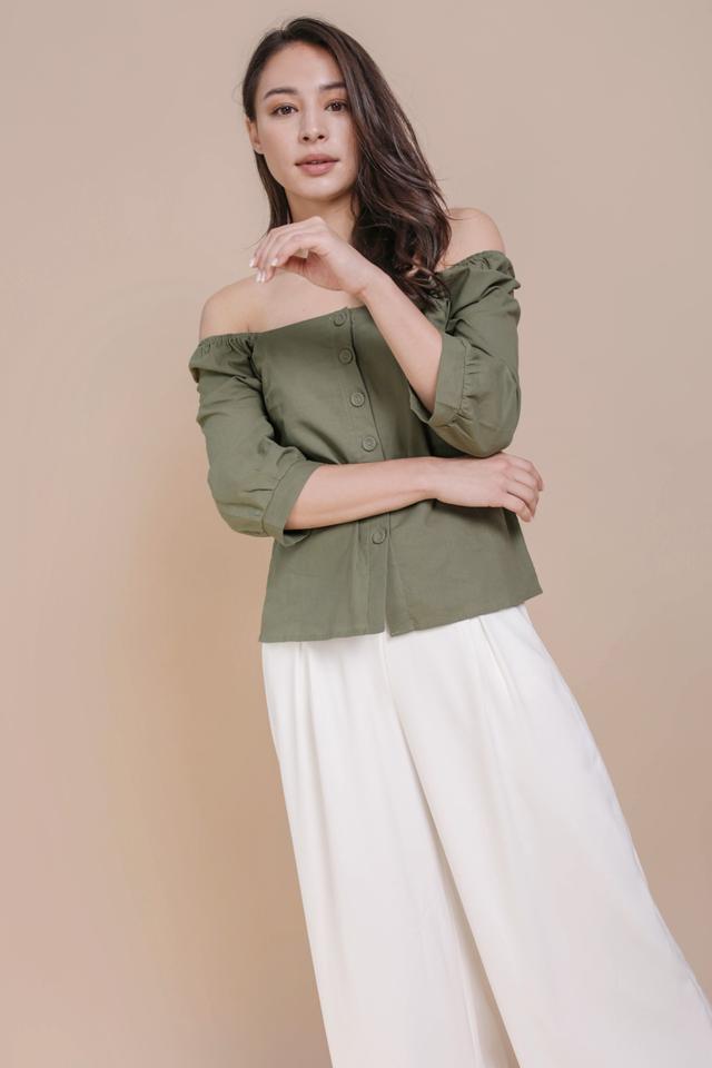 Naya Linen Top (Olive)