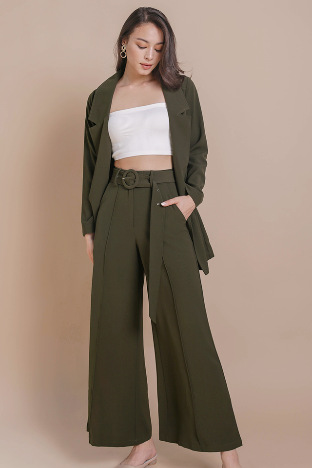Pearson Belted Pants (Olive)