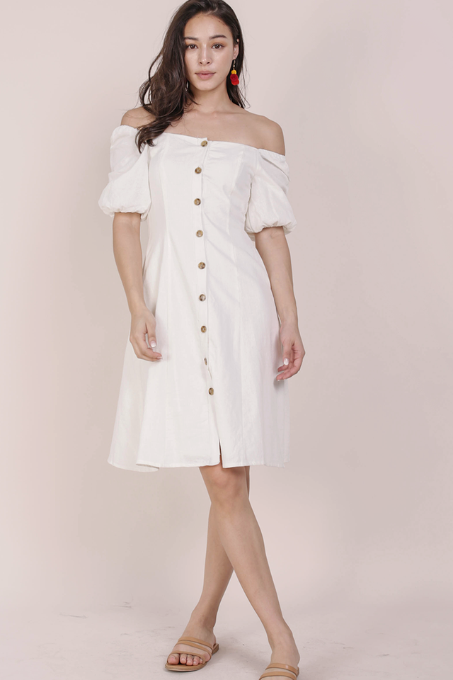 Molly Button Down Dress (White)