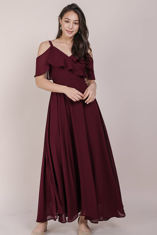 Grace Cold Shoulder Maxi (Wine Red)