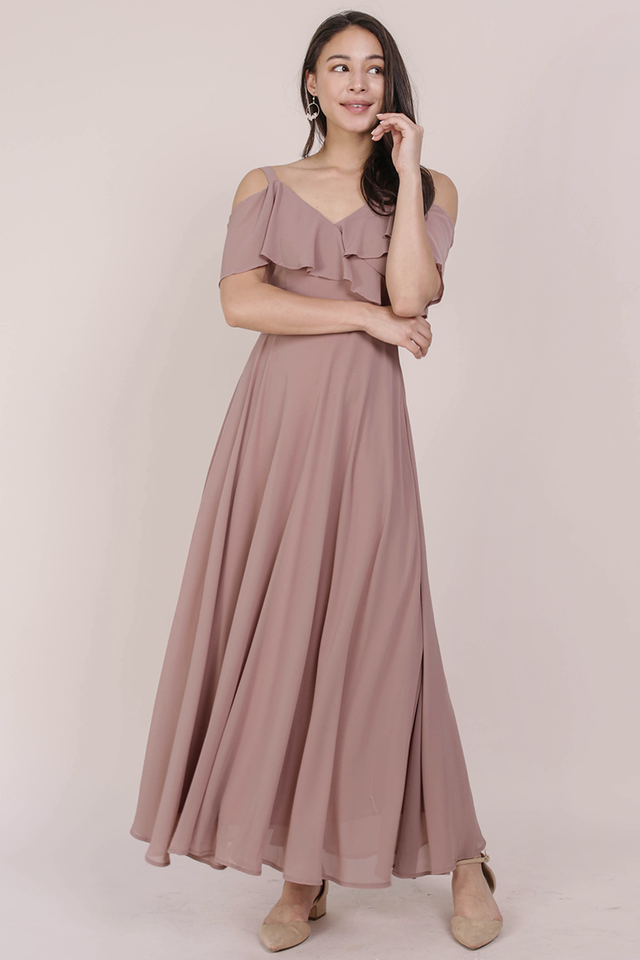 Grace Cold Shoulder Maxi (Taupe)