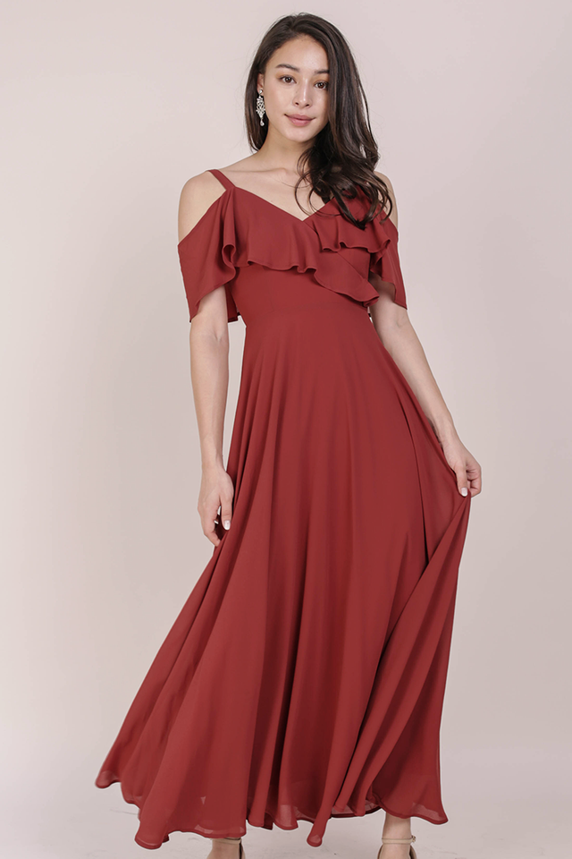 Grace Cold Shoulder Maxi (Crimson)