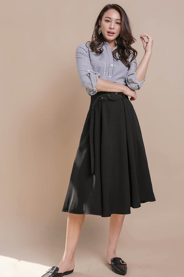 Arena Belted Midi Skirt (Black)