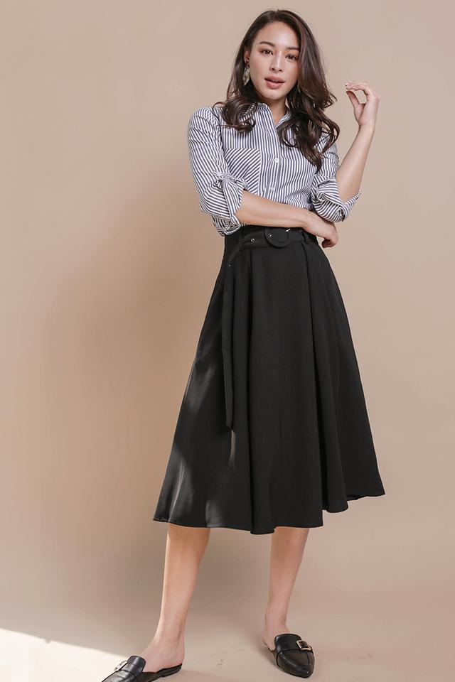 Arena Belted Midi Skirt (Black)