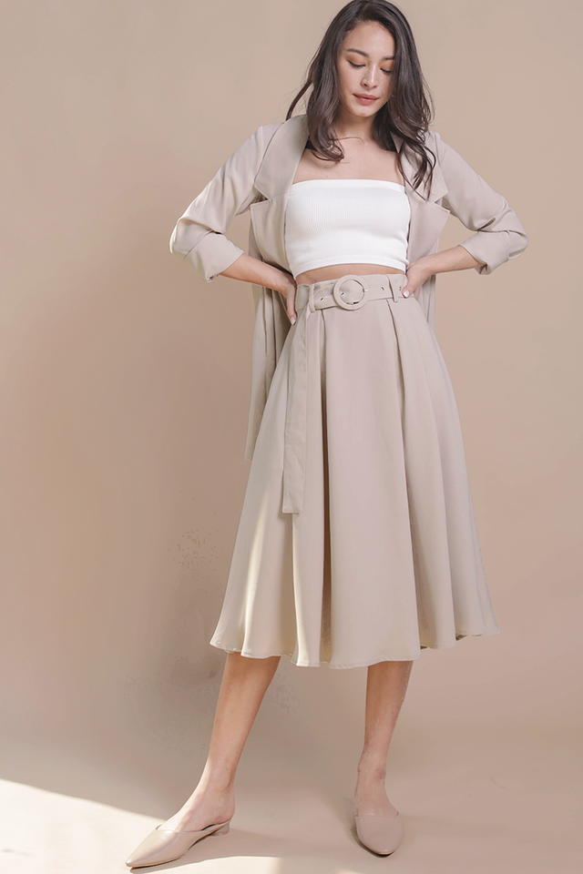 Arena Belted Midi Skirt (Cream)