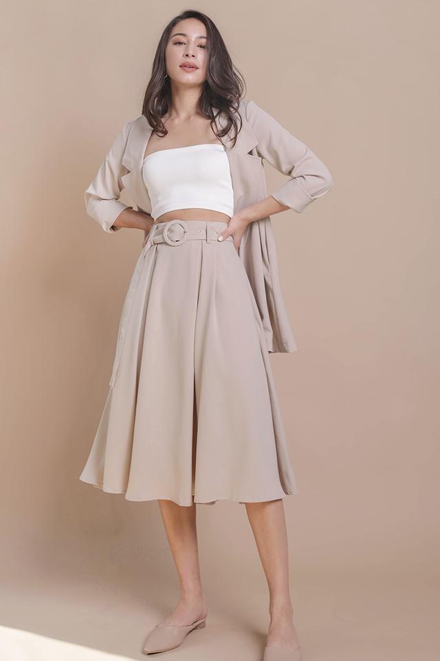 Arena Belted Midi Skirt (Cream)