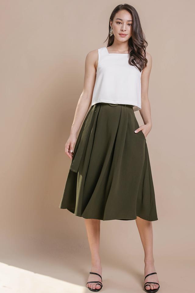 Arena Belted Midi Skirt (Olive)