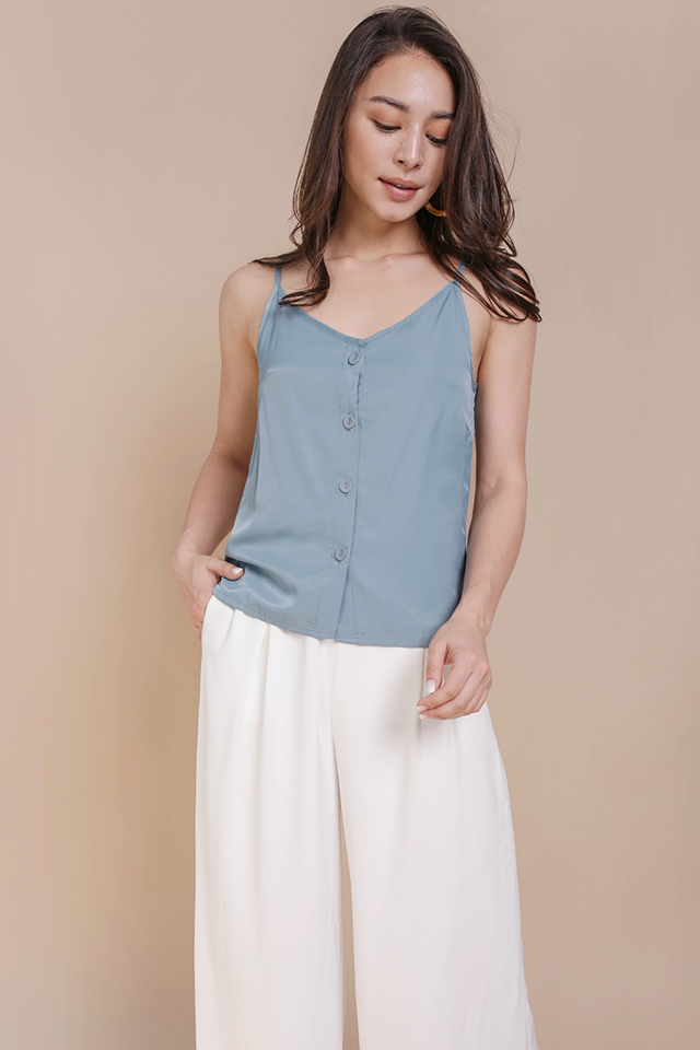 Alana Button Spag Top (Ash Blue)