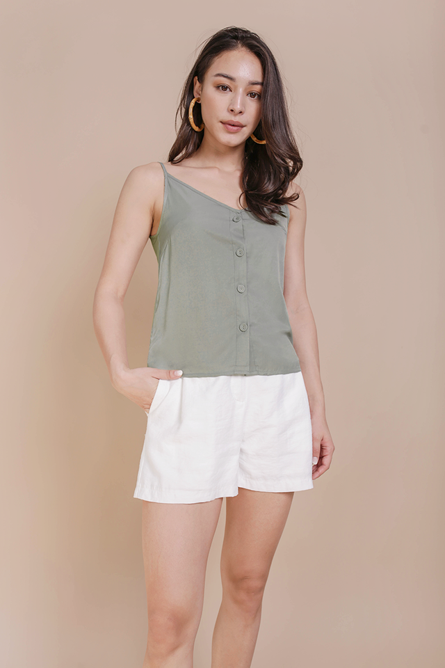 Alana Button Spag Top (Sage Green)