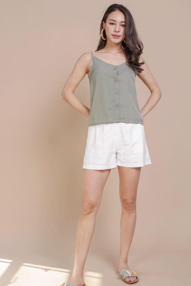 Alana Button Spag Top (Sage Green)