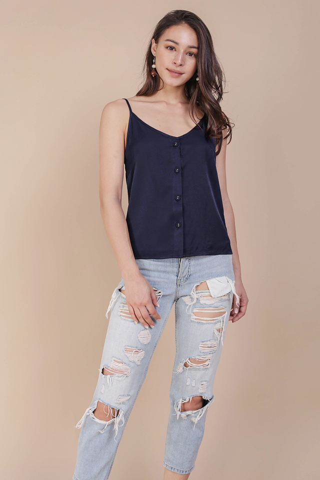 Alana Button Spag Top (Navy)