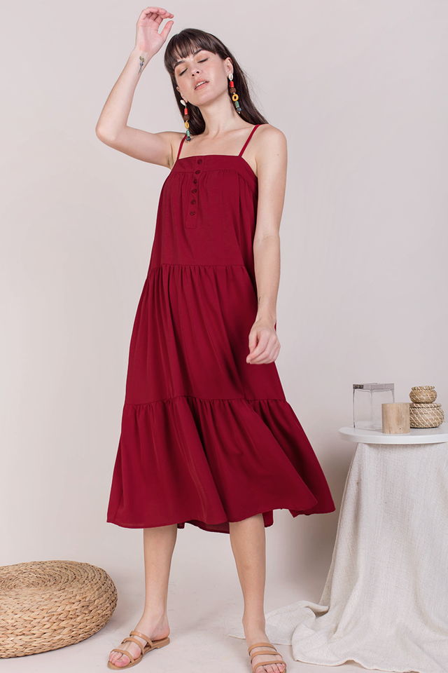Frida Midi Dress (Cherry)