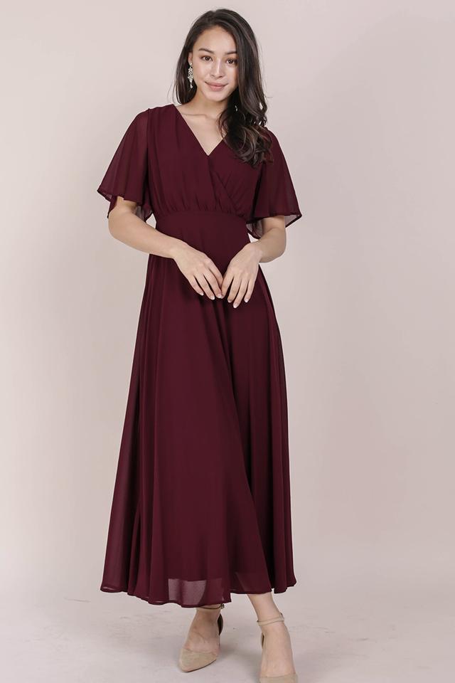 Shana Sleeved Maxi (Wine Red)