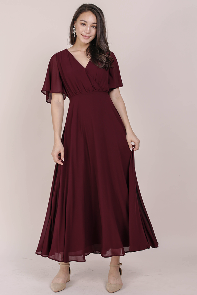 Shana Sleeved Maxi (Wine Red)