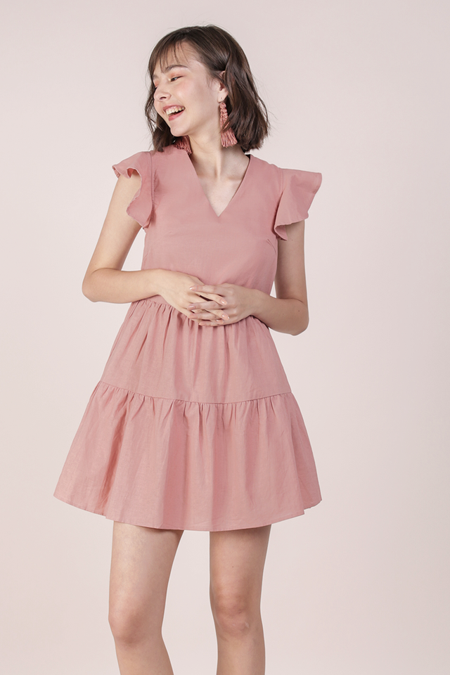 Kyra Linen Tiered Dress (Rose)