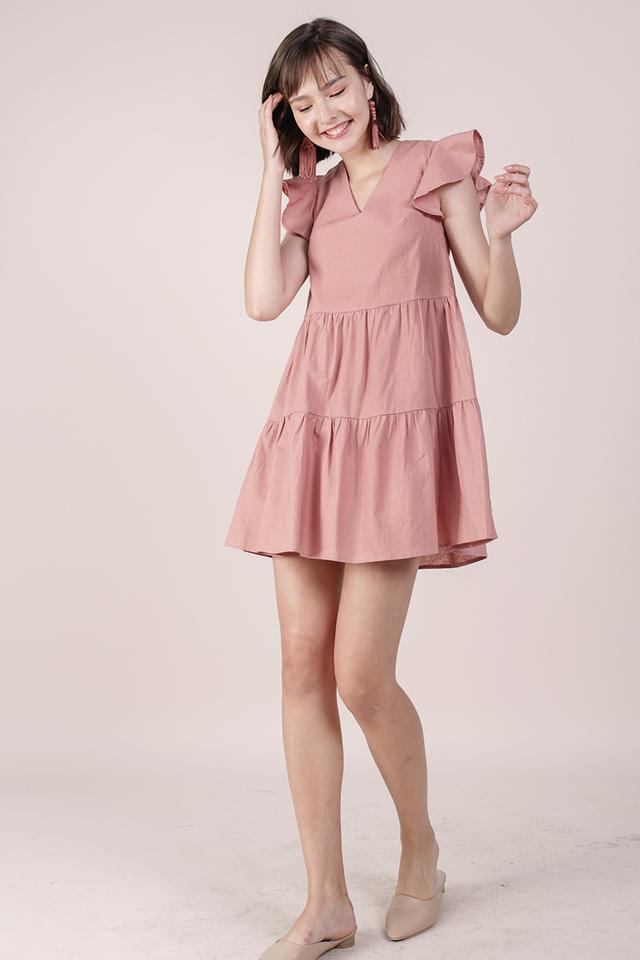 Kyra Linen Tiered Dress (Rose)