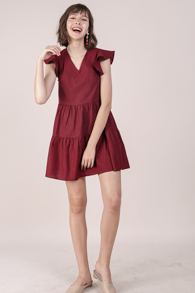 Kyra Linen Tiered Dress (Maroon)