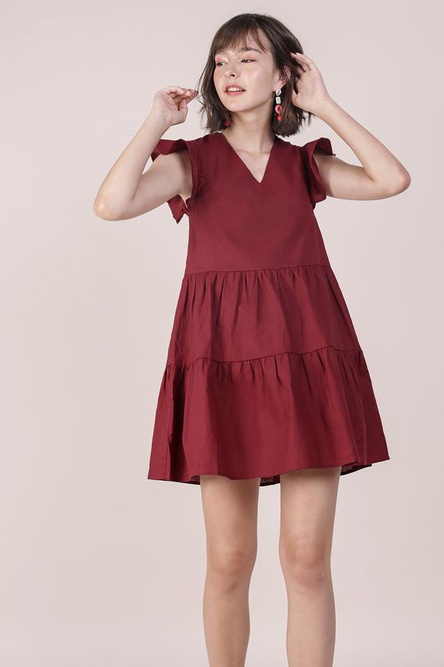Kyra Linen Tiered Dress (Maroon)