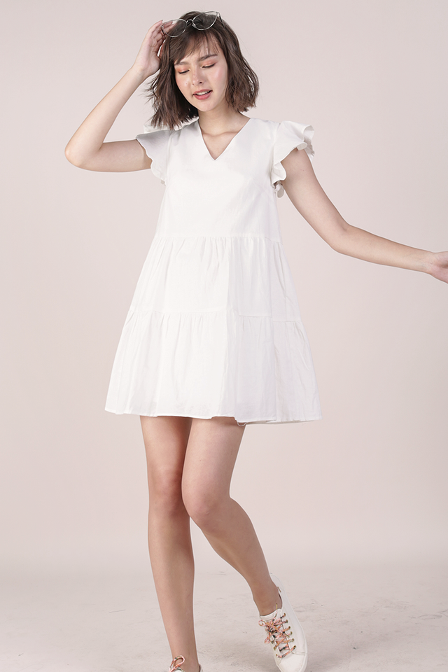 Kyra Linen Tiered Dress (White)