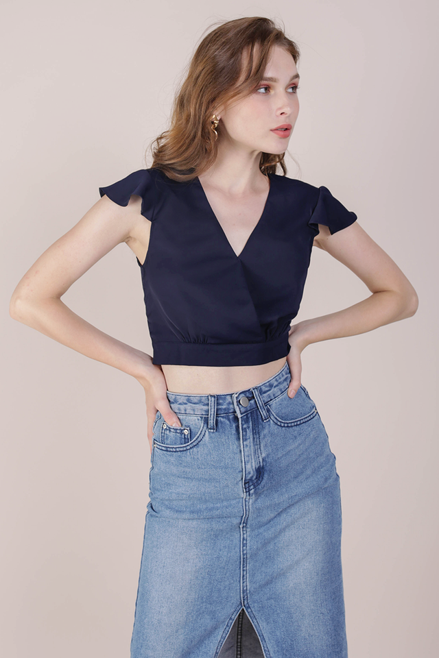 Misha Ruffles Top (Navy)