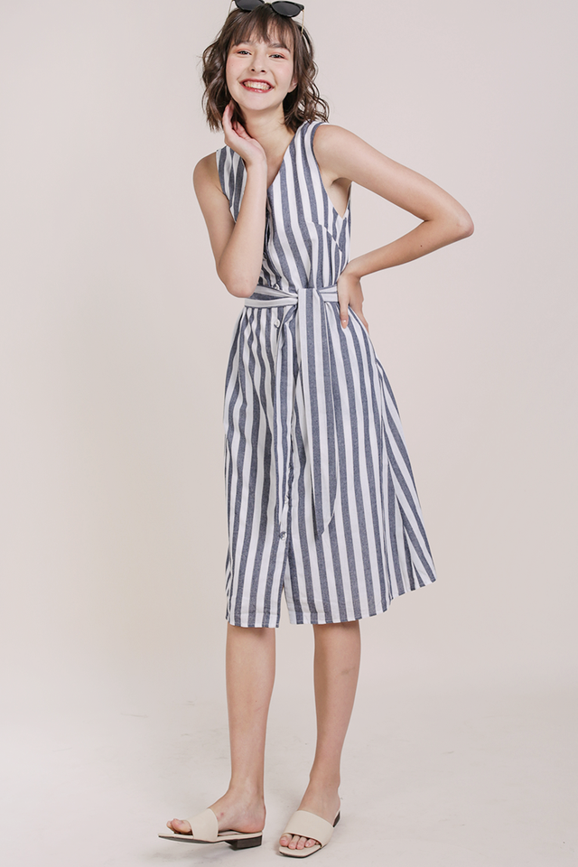 Leida Midi Dress (Navy Stripes)
