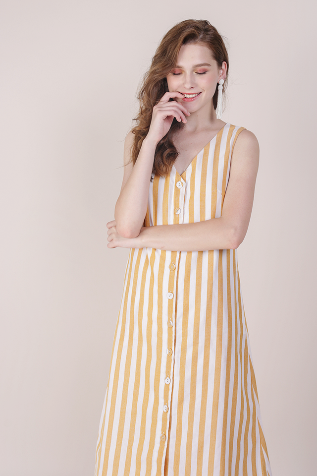 Leida Midi Dress (Yellow Stripes)
