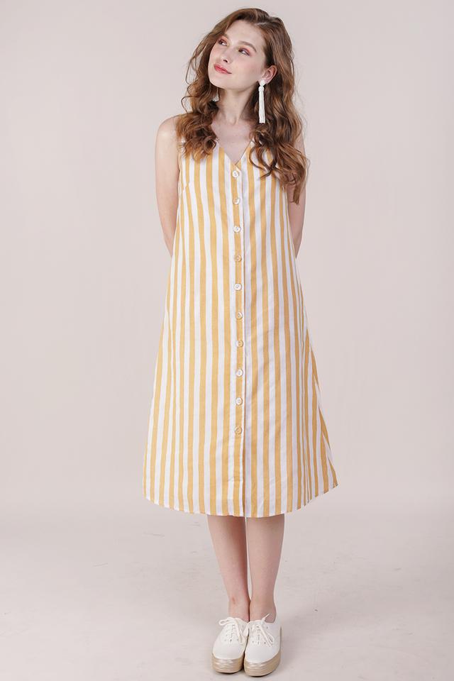 Leida Midi Dress (Yellow Stripes)