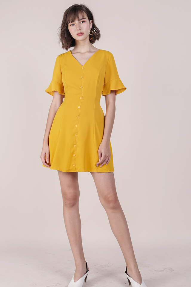 Leila Mini Dress (Marigold Yellow)